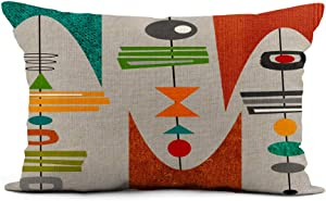 Topyee Throw Pillow Cover 12x20 Inch Vintage Mid Century Modern Inspired Retro Boomerangs Atomic Era Home Decor Pillowcase Lumbar Pillow Case Cushion Cover for Sofa Couch Bed
