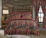 Regal Comfort The Woods Burgundy Camouflage Twin 5pc Premium Luxury Comforter, Sheet, Pillowcases, and Bed Skirt Set by Camo Bedding for Hunters Cabin Rustic Lodge