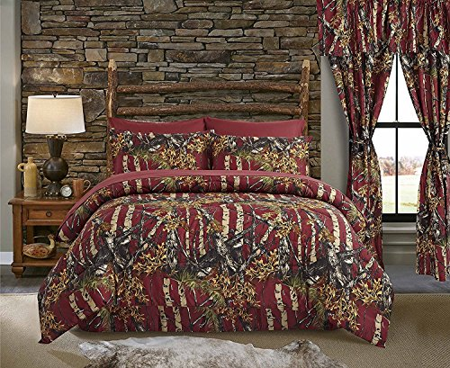 The Woods Burgundy Camouflage King 8pc Premium Luxury Comforter, Sheet, Pillowcases, and Bed Skirt Set by Regal Comfort Camo Bedding Set For Hunters Cabin or Rustic Lodge Teens Boys and Girls