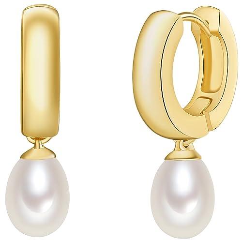 5fa3b29b9cef Valero Pearls - Aros con cierre embellecidos con Perlas de agua dulce - 925  Plata esterlina