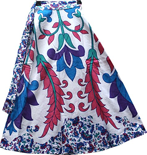 Wear Wrap Around Skirt (Creativegifts Cotton Bohemian-Style Wrap Around Adjustable Skirt in Colorful Elephant and Floral Print Casual Wear for Women (color-2272))