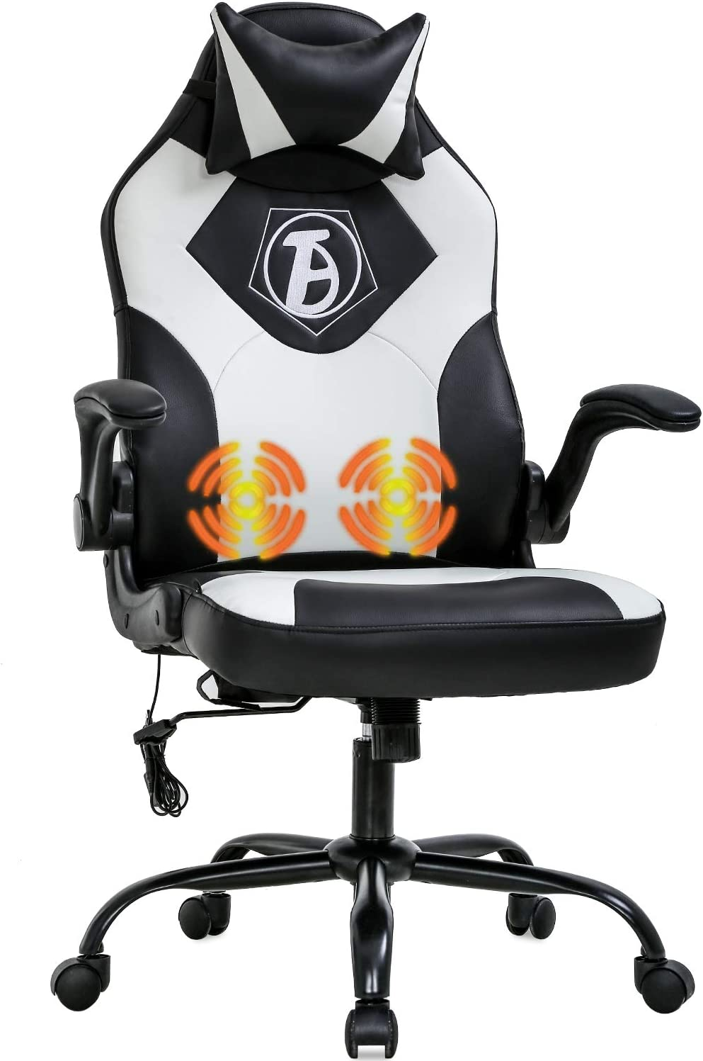 PC Gaming Chair Home Office Chair Ergonomic Desk Chair PU Leather Adjustable Computer Chair with Lumbar Support Headrest Armrest Task Rolling Swivel Massage Racing Chair for Women Adults(White)