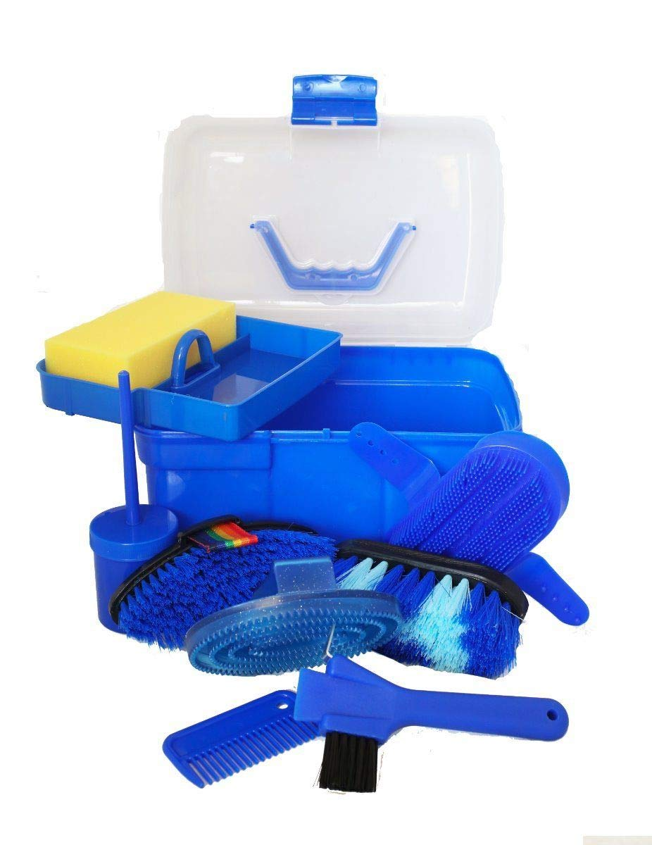 AJ Tack Wholesale Horse Grooming Box 9 Piece Set Brushes Sweat Scraper Rubber Massage Curry Mane and Tail Comb Hoof Pick Sponge Clear Plastic Box Blue