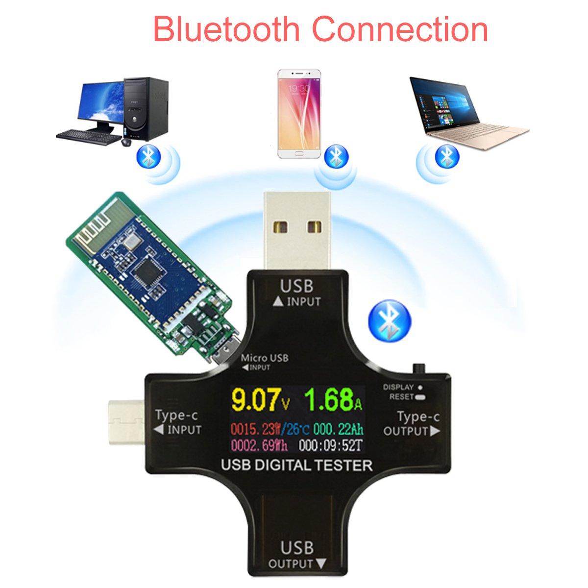 MakerHawk USB Multimeter Tester USB Type-C USB-C Voltage Tester Bluetooth Connection TFT Color Display USB Current Power Capacity Charger Amp Temperature PD Meter Tester Voltmeter Ammeter Indicator