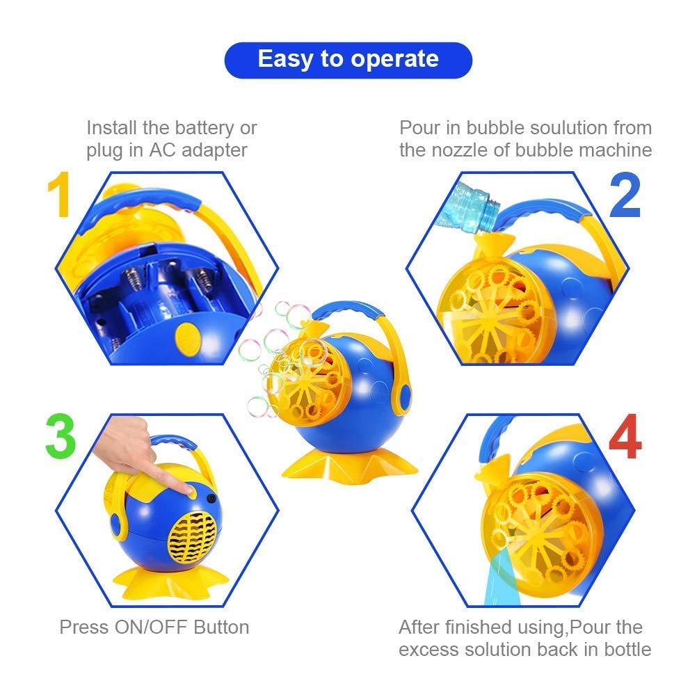 Theefun Bubble Machine, Automatic Bubble Blower Durable Bubble Maker with 2 Bottles of Bubbles Solution Refill, Over 800 Colorful Bubblesper Min Use