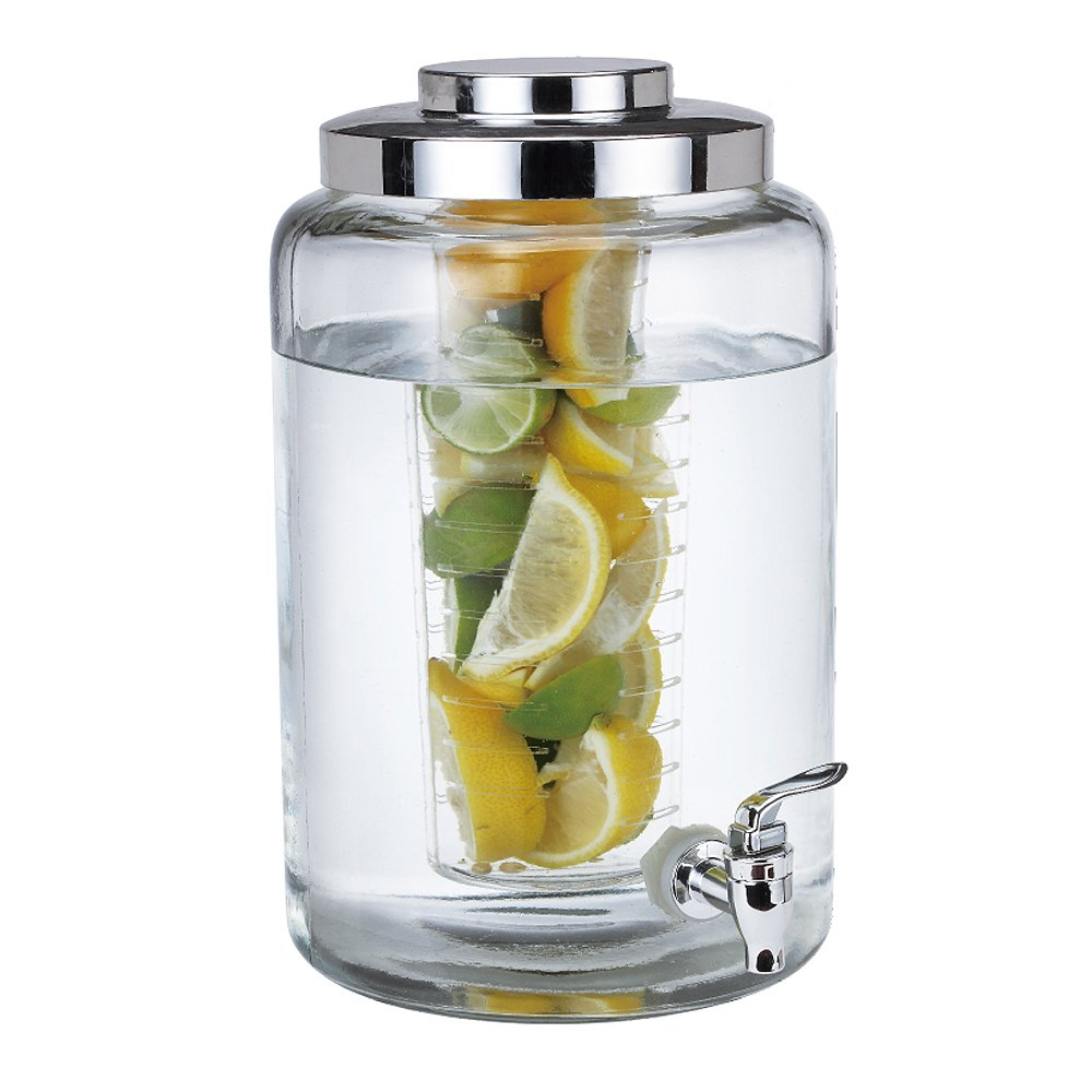amazoncom sf large glass fruit infuser beverage dispenser 17 gallons iced beverage dispensers - Beverage Dispensers