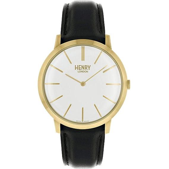 Henry London Reloj Analógico para Unisex Adultos de Cuarzo con Correa en Cuero HL40-S0238: Amazon.es: Relojes