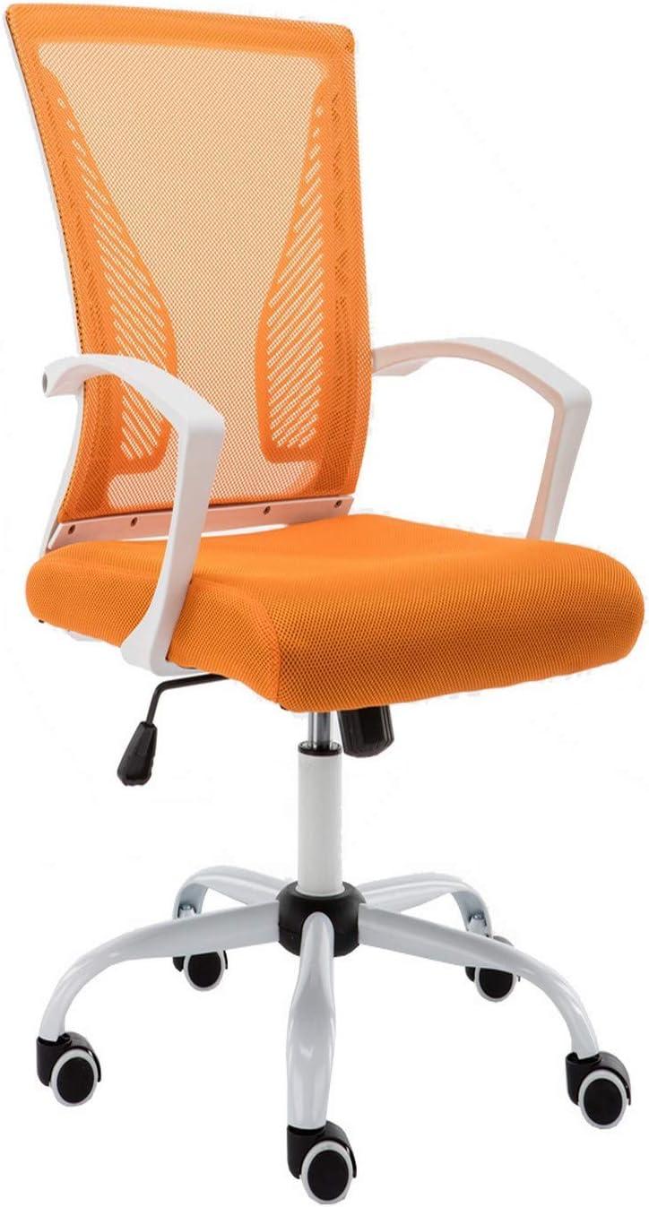 Modern Home WHORANGE Zuna Mid - Back Office Chair, White/Orange