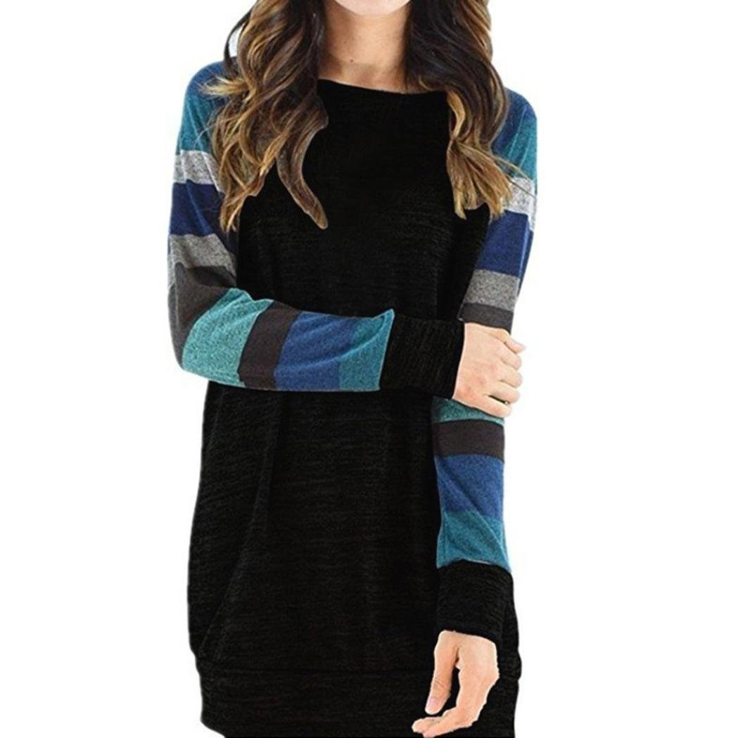 Toimoth Women Striped Long Sleeve Blouse Casual Tunic Sweatshirt Tops T Shirt Dress(Blue,M)