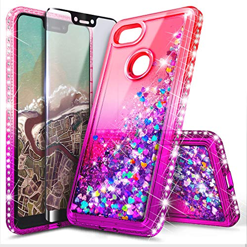 Google Pixel Case with Tempered Glass Screen Protector for Girls Women, NageBee Glitter Bling Liquid Floating Quicksand Waterfall Sparkle Diamond Durable Cute Case for Google Pixel (2016) -Pink/Purple