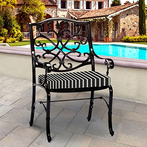 (Thomas Collection Outdoor Cushions, Black White Patio Cushions, Sunbrella Outdoor Cushions, One Outdoor Patio Seat Cushion, Handmade in US,)