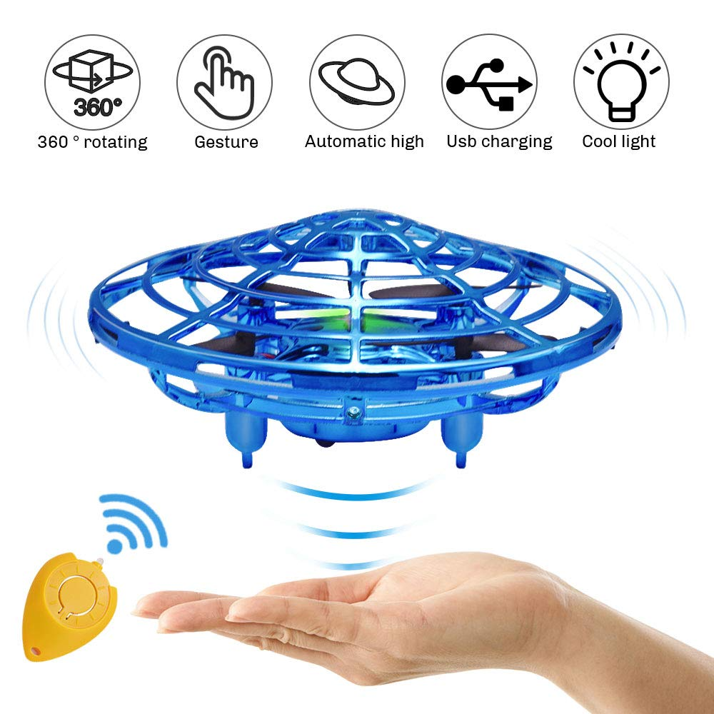 Hand Operated Drone for Kids or Adults, Toys for 4-5 Year Old Boys, Latest Mini Drone Helicopter with 4 Sensors, Flying Ball Toys for 6, 8, 10, 11 Year Old Boys or Girls (Blue, with Remote) by CPSYUB