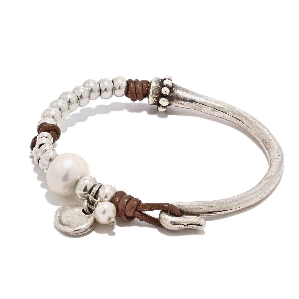 Pulsera hecha a mano con cuero y perla de río natural de Intendenciajewels - Pulsera de perla - Pulsera de cuero y abalorios - Regalo para mujer - Pulsera de cuero y perlas -