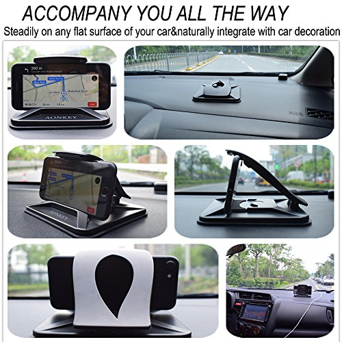 Aonkey Cell Phone Holder for Car, Dashboard Car Mounts for iPhone X 8 Plus 7 Plus 6 6S Plus, Non-Slip GPS Holder Car Cradles for Galaxy Note 8 S8 Plus S7 Edge and 3-7 inch Smartphone or GPS Devices by Aonkey (Image #5)