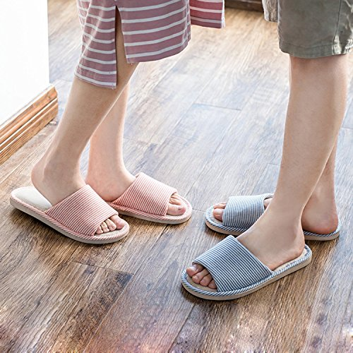 LYMMC House Slippers,Women's and Men's Cotton Causal Soft Slippers Anti-Slip for Indoor and Outdoor (Blue) by LYMMC (Image #4)