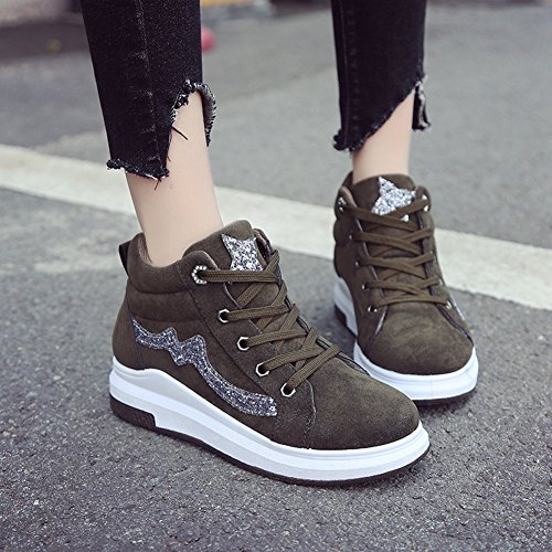 Btrada Womens Wedge Sneakers Slip On Heeled-Hidden Shoes Casual Sequins Sports Fitness Running Shoes Green OFOPr8Ixl