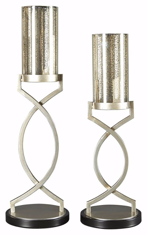 Ashley Furniture Signature Design - Odele Glass and Metal Candle Holder Set - 2 Pieces - Assorted Sizes - Contemporary - Silver