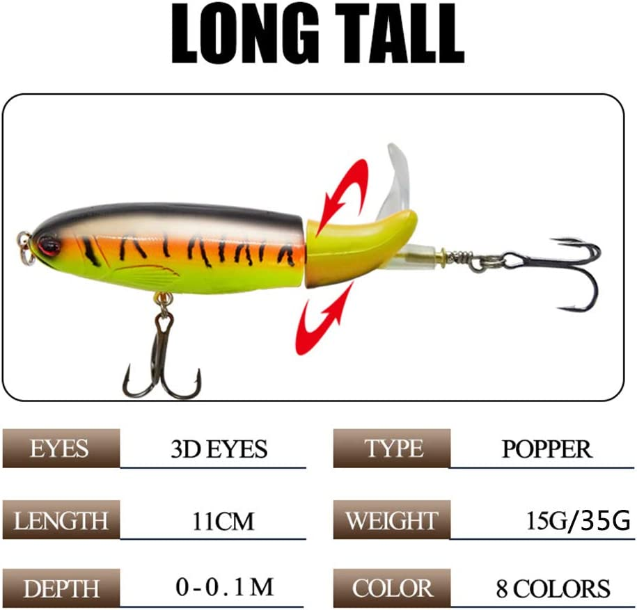 AIOUTE Fishing Popper Hard Baits with Double Hooks Soft Propeller Jigging Lures Crankbaits for Topwater Freshwater Saltwater 0.53oz 1.23oz