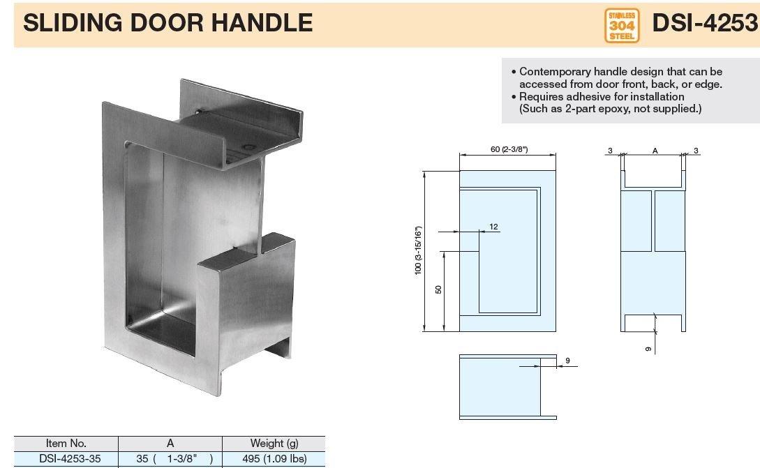 Sugatsune, Lamp DSI-4253-35 Door Hardware, 304 Stainless Steel, Satin