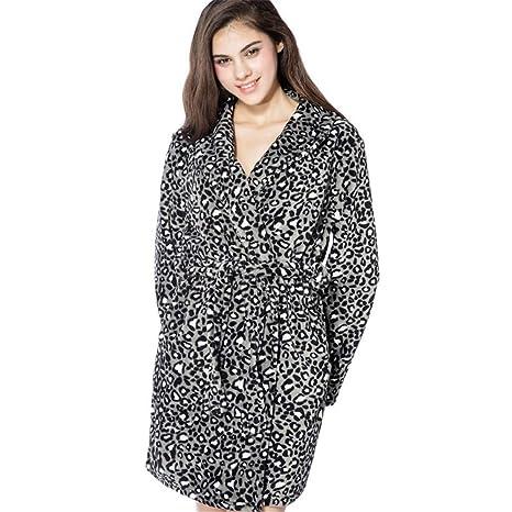 Tina Albornoz Mujer Leopardo Caliente Franela Albornoz Señoras Batas Ropa de Dormir para Damas Bata Ropa