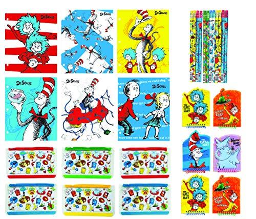 Dr. Seuss memo Pads, folderes, Pencils and Pencil Pouches Party Favor staionary Bundle (30 pc Pack) ()