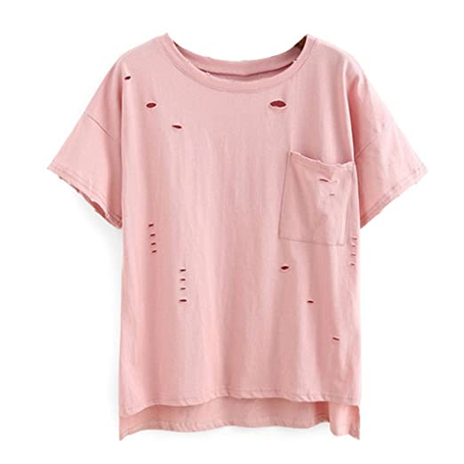 2d9af97f Tloowy Womens Sexy Ripped Tee Shirts Distressed T-Shirt Broken Hole  Clubwear Party Summer Cute Blouse Pullover at Amazon Women's Clothing store: