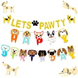 LaVenty Set of 2 Glitter Lets Pawty Banner Dog Birthday Banner Dog Pawty Banner Dog Party Banner Pet Birthday Banner Pet…