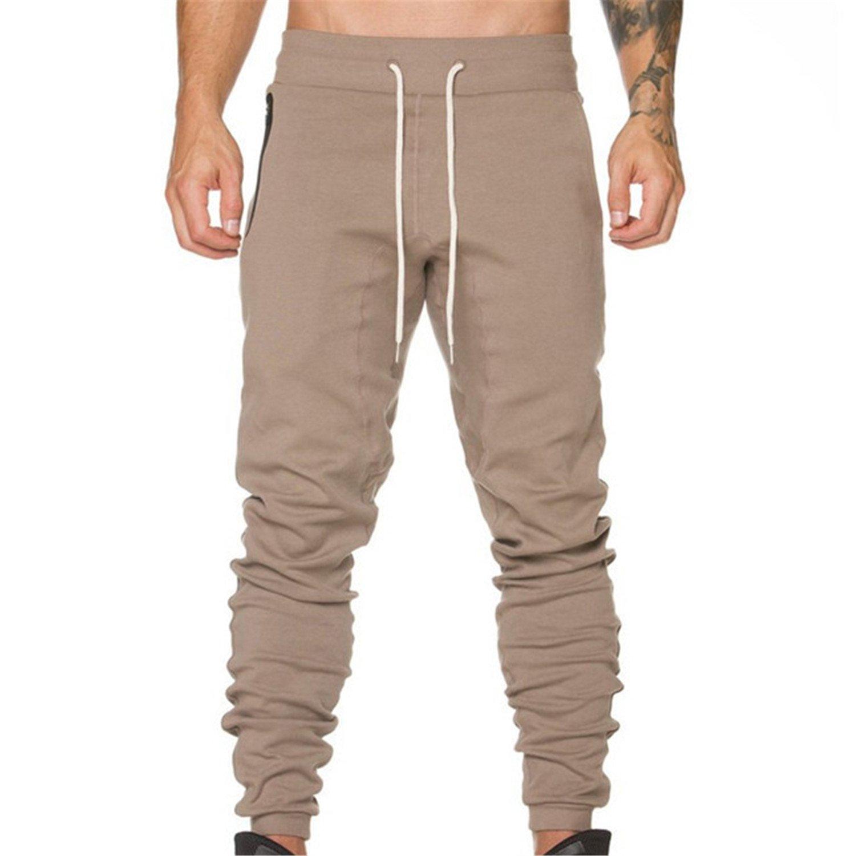 Dapengzhu Men Full Sportswear Pants Casual Elastic Cotton Mens Fitness Workout Pants Skinny Sweatpants Trousers Pants 1 L by Dapengzhu