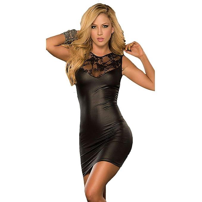 Amazon.com: Vestido de noche sexy con encaje de Lencería Pu ...