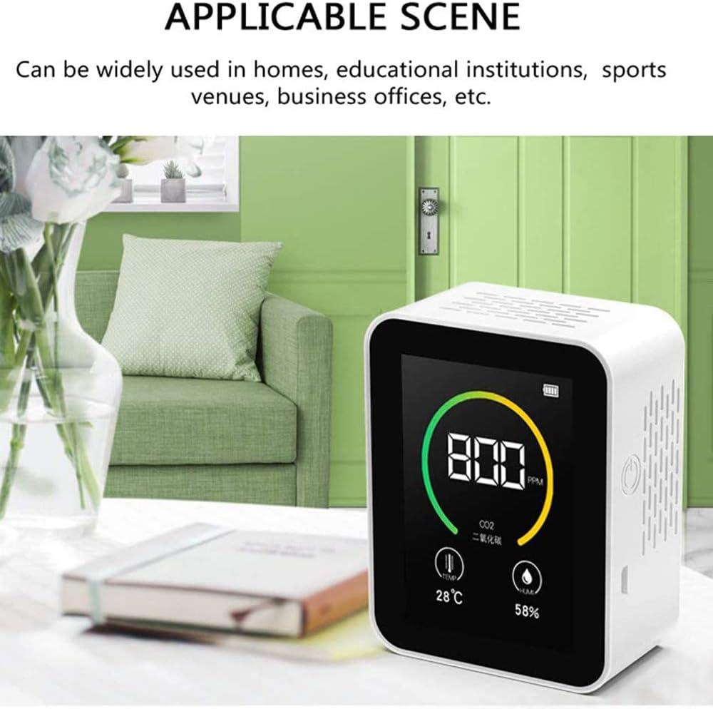 Monitor de Calidad del Aire Detector de formaldeh/ído Sensor de Calidad del Aire Interior para detectar la contaminaci/ón Interior con Pantalla de Temperatura y Humedad para la Oficina en casa
