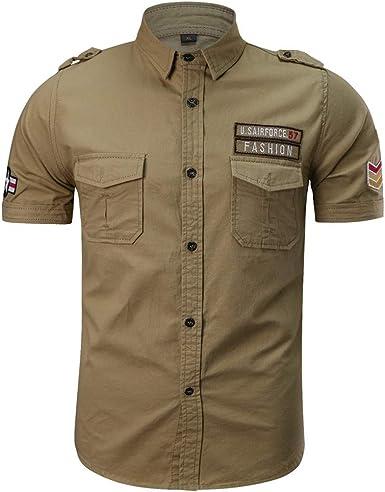 Camisa de Hombre, Internet_Camisa de Manga Corta de Solapa Militar de con Bolsillos de Color sólido de Insignia del Bordado para Hombres(Ejercito Verde/Azul Oscuro/Caqui M-5XL): Amazon.es: Ropa y accesorios
