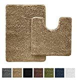 The Original GORILLA GRIP Slip-Resistant Shaggy Chenille Bathroom Rug Set, Includes Contoured for Toilet and 30î x 20î, Machine-Washable, Perfect for Bath, Tub, and Shower (Beige, Curved Set).