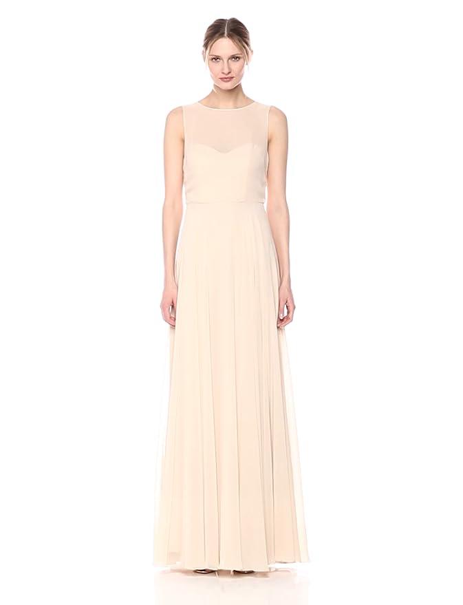 1810b9ddaf Jenny Yoo Women s Elizabeth Chiffon Illusion Neckline Open-Back Long Gown  at Amazon Women s Clothing store