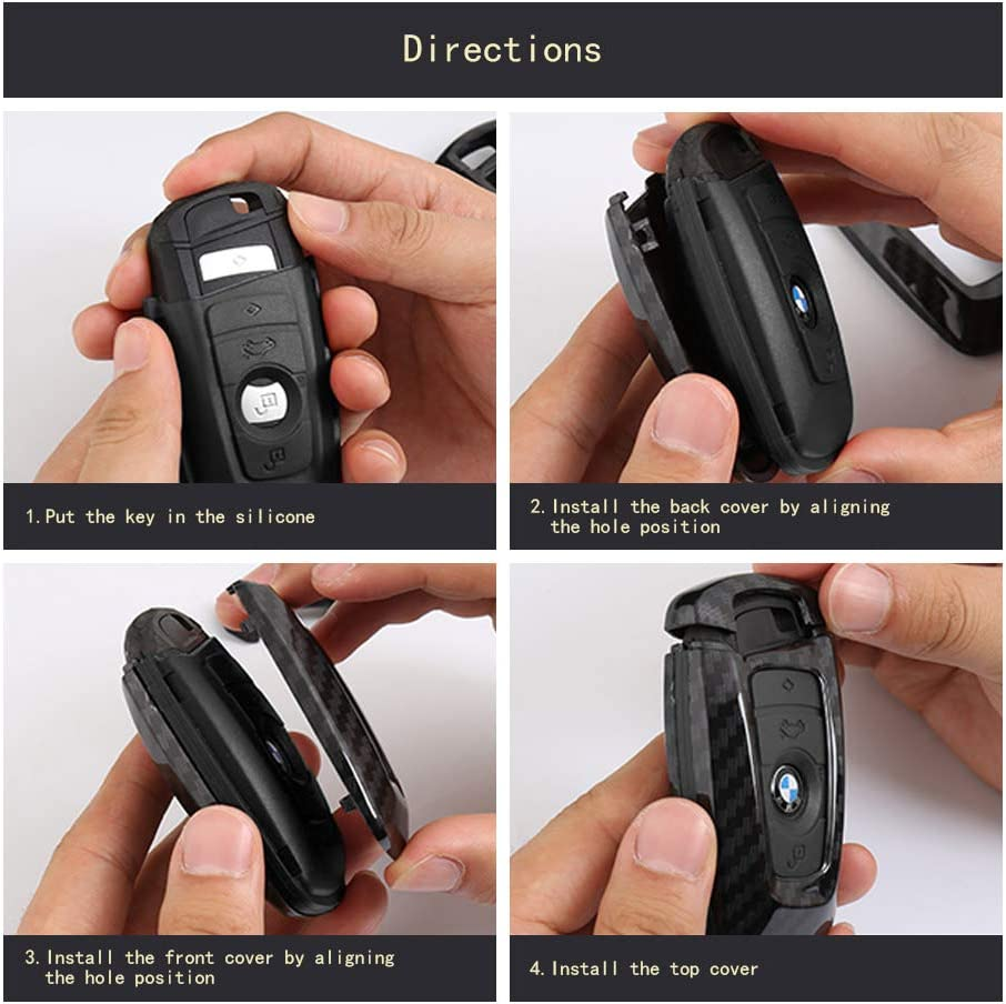 TANGSEN Smart Key Fob Case for BMW 1 3 4 5 6 7 Series GT3 GT5 M5 M6 X3 X4 3 4 Button Keyless Entry Remote Personalized Protective Cover Plastic Carbon Fiber Pattern Red Silicone