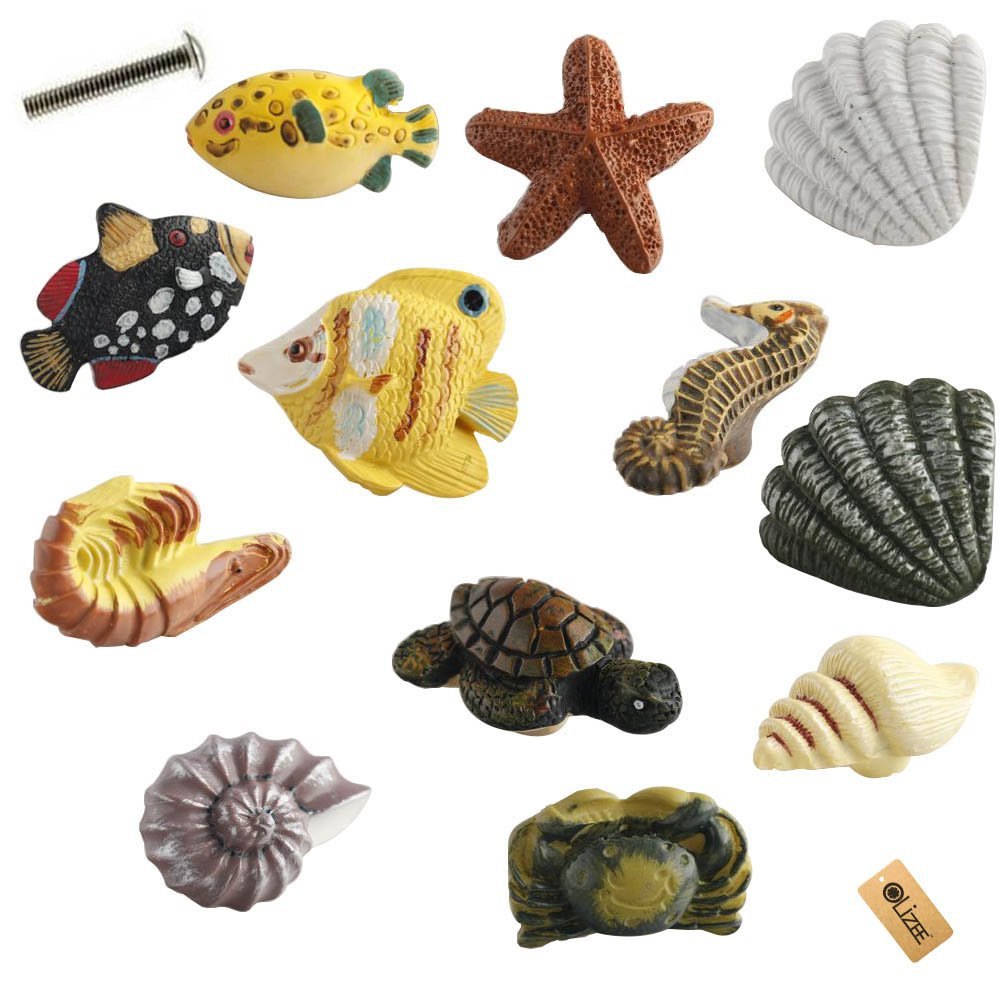 OLizee Seashell Nautical Decor Cabinet Knobs for Drawers or Doors SET OF 12 Seashell,Starfish,Fish,Seahorse,Crab,Rock lobster