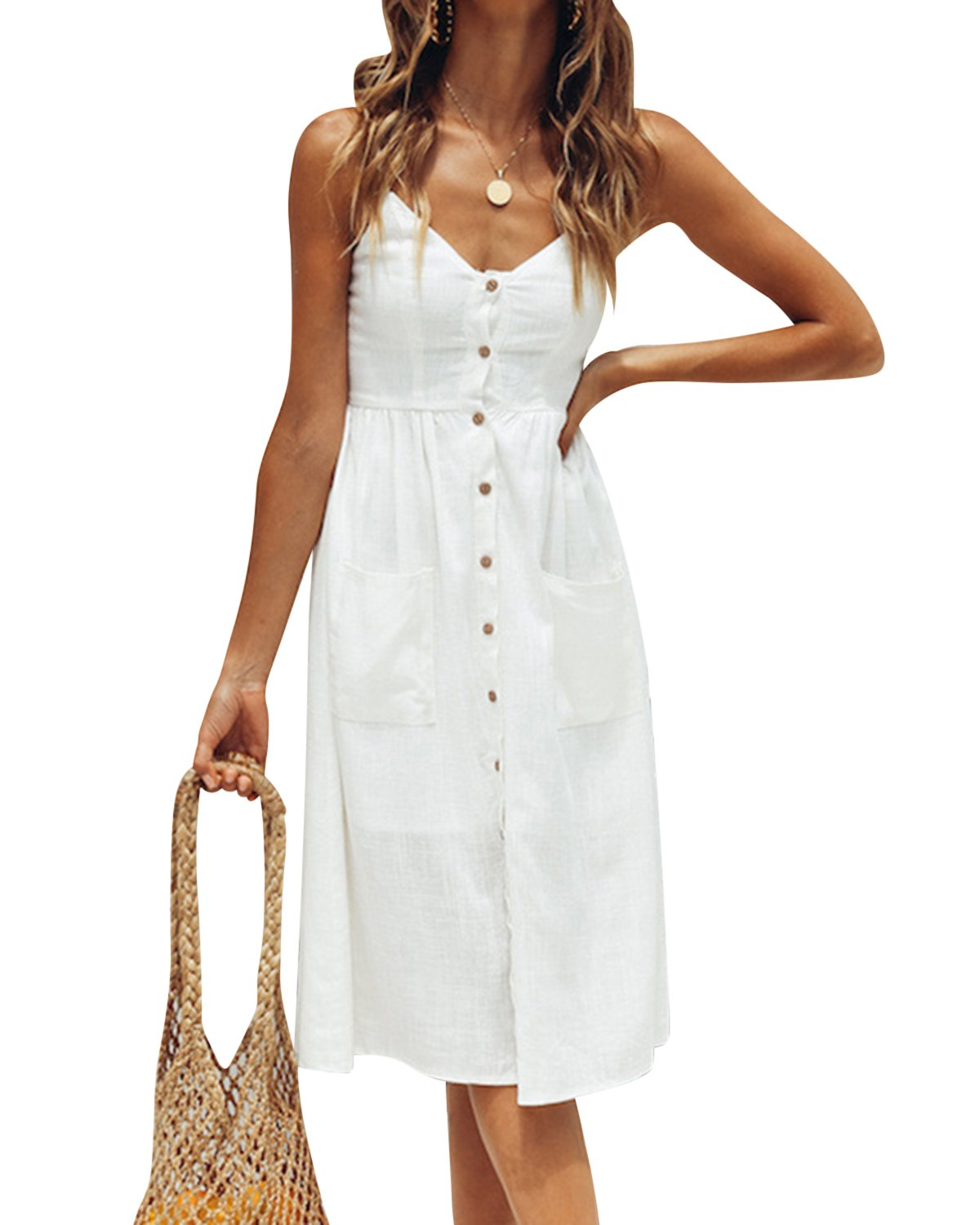 Jacansi Women Bohemian Sleeveless Backless Knee-Length Button up Midi Dress with Pocket White L by Jacansi (Image #1)