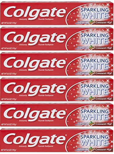 Colgate Sparkling White Whitening Toothpaste, Cinnamon - 6 ounce (6 Pack)