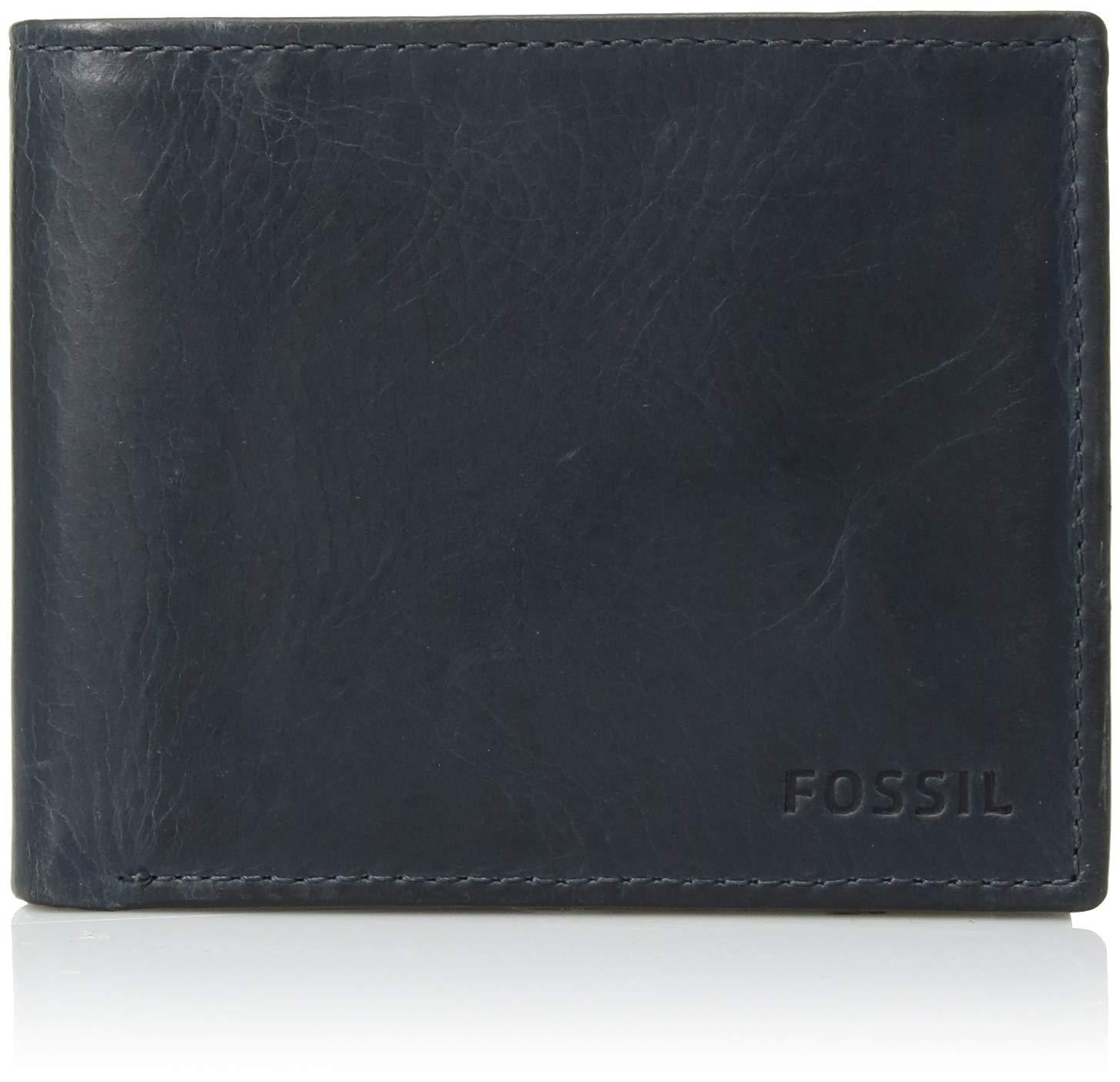 Fossil Men's RFID Flip ID Bifold Wallet, Navy 4.5''L x 0.75''W x 3.56''H