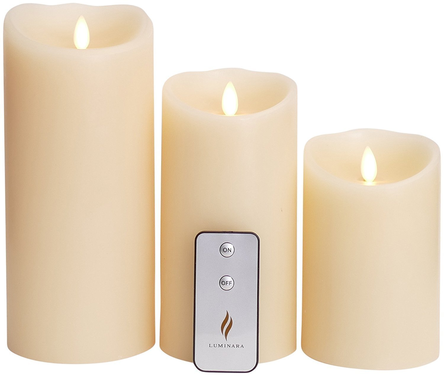 Luminara Flameless Candle with Remote & Timer Set of 3pcs,3.5-Inch by 5/7/9-Inch Pillar Candle with Moving Wick,Ivory