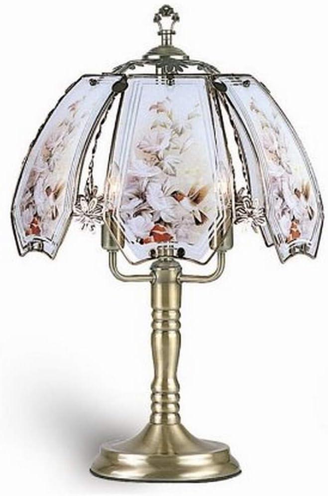 ORE International K303 Glass Hummingbird Scene Touch Lamp, Brushed Gold