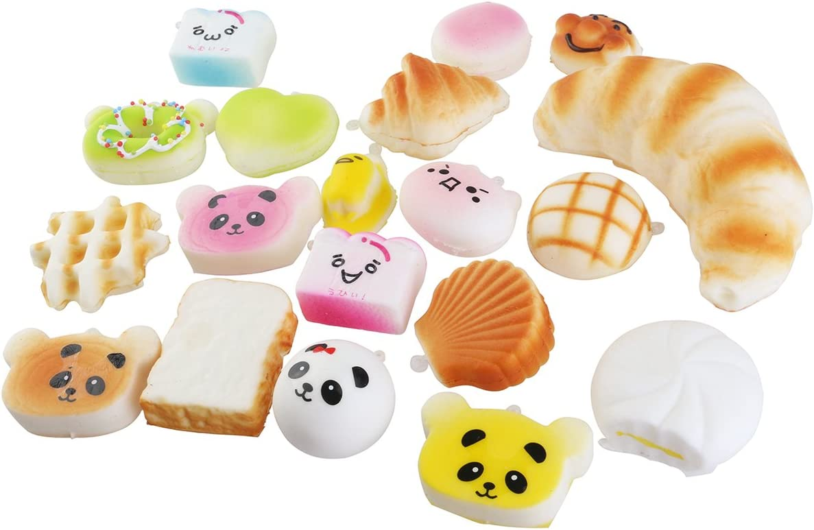 morbido Panda//pane//torta//panini telefono cinghie casuale NUOLUX 20pcs Mini Jumbo giocattoli scivolavano via