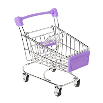 Qiuxiaoaa Creativo para Niños Mini Simulación Supermercado Carrito de la Compra Pequeño Trolley Play House Modelo Juguete Almacenamiento Plegable Cesta de ...