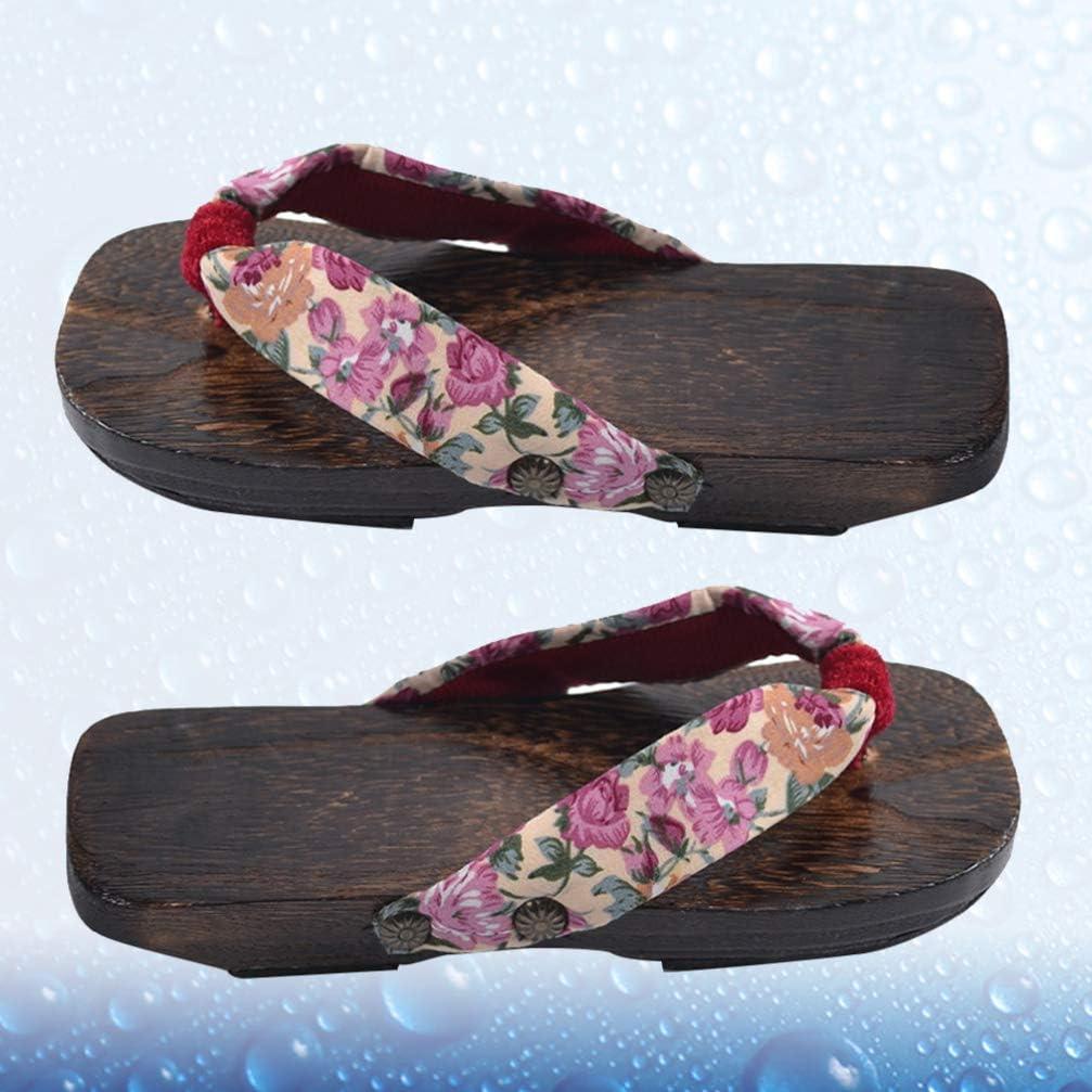 HEALLILY Chanclas de Madera Sandalias Zapatillas Zapatillas Estilo japon/és Madera Sandalias Geta para ni/ños Talla 16-22 Rosa