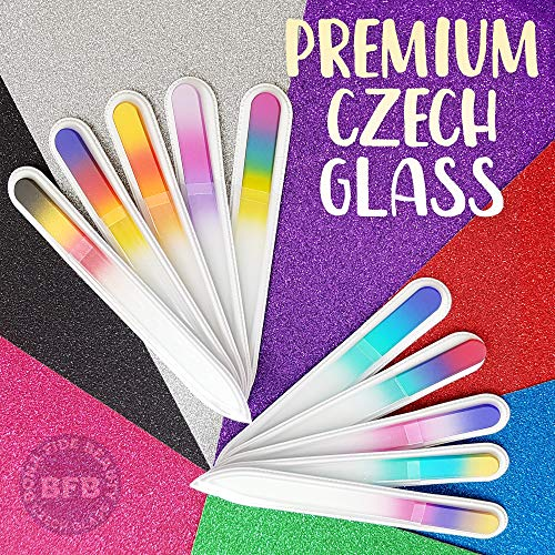 Glass Files for Nails, Fingernail File for Professional Manicure Nail Care, Gentle Comfortable Filing, Leaves Nails Smooth - Bona Fide Beauty 10-Piece Premium Czech Glass Nail Files