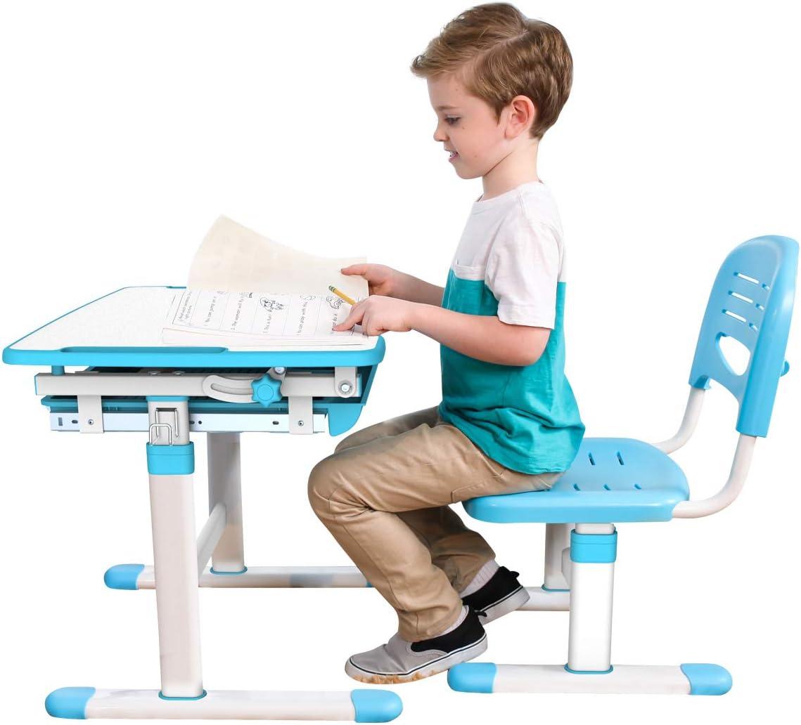 Height Adjustable Kids Desk Chair with Seat Pad Ergonomic Desk Children Study Table School Desk Chair - Mini (Green) Blue