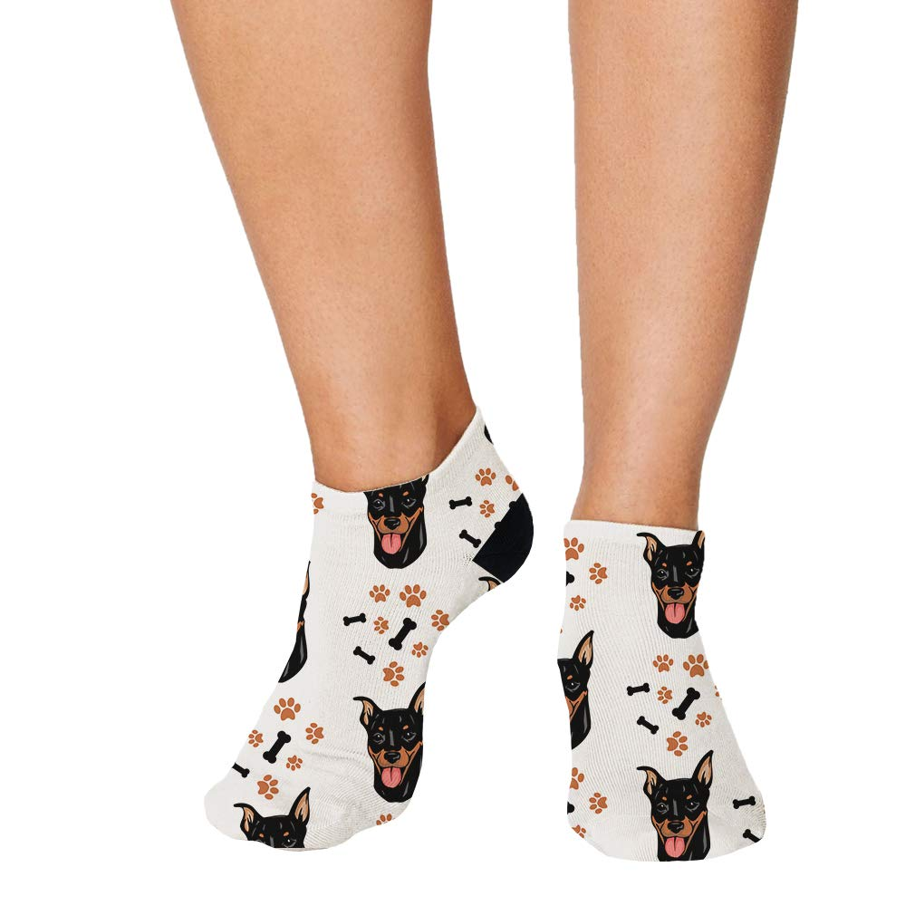 Miniature Pinscher Dog Breed Pattern #2 Men-Women Adult Ankle Socks