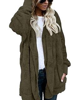 Puluo Women Hooded Cardigan Coat Fuzzy Fleece Jacket Open Front Outwear Pockets