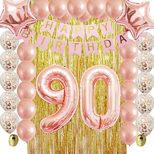 Rose Gold 90th Birthday Decorations Party Supplies Kit for Women,Men,Adult-Gold Metallic Foil Curtain-Confetti Latex Balloons as Photo Booth,Table and Wall Backdrop