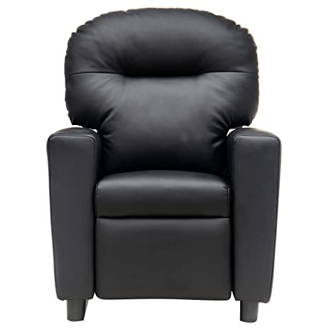 Costzon Kids Sofa Manual Recliner PU Ergonomic Lounge Chair (Black)