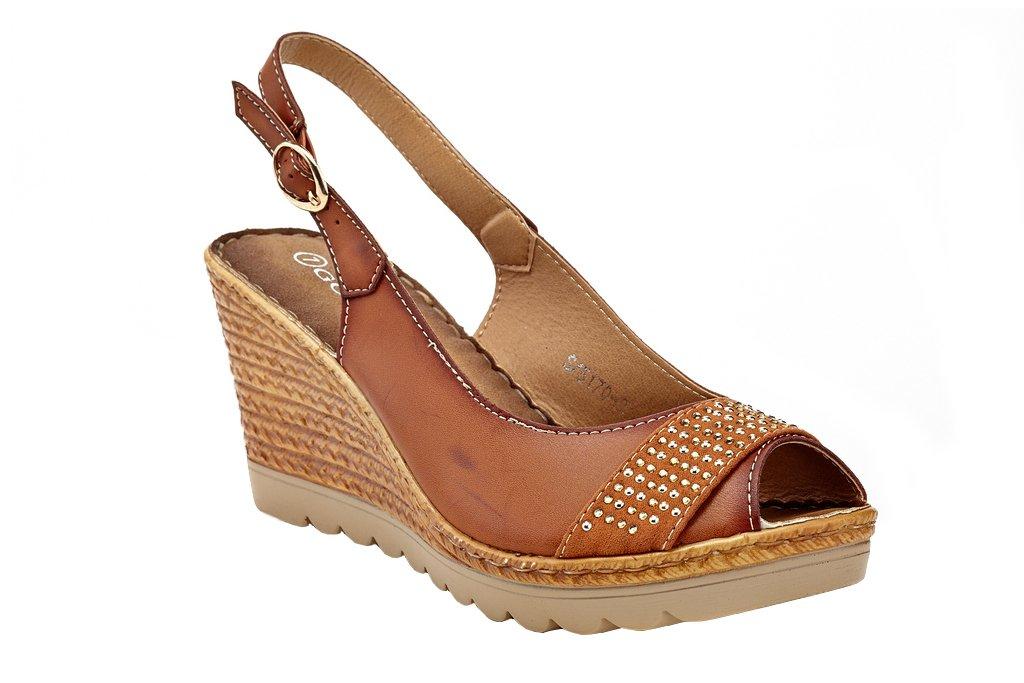 Lady Godiva Women's Open Toe Wedge Sandals Multiple Styles B079YY2MR7 9 B(M) US|Brown - 5170
